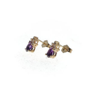 14k Amethyst/Diam. Earrings