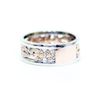 14k White and Rose Gold Carved Wedding Band