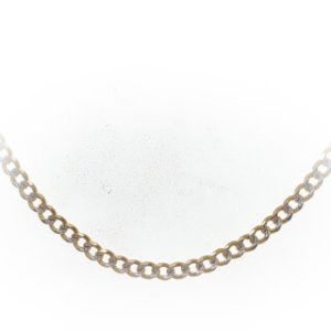 14k YG Semi-solid Pavé Figaro chain 24''