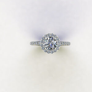 Round Halo with Side Diamond Engagement Ring