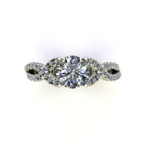 Criss Cross French Tipped Engagement Ring