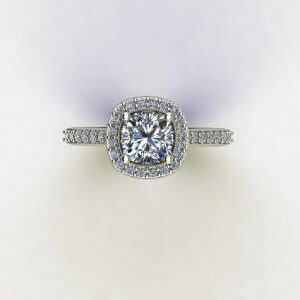 Cushion Halo Engagement Ring with French Tips side stones