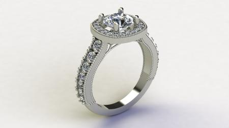 Cushion Cut Halo Engagement Ring with Under Design
