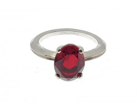 Sterling Silver Oval Red Stone Ring