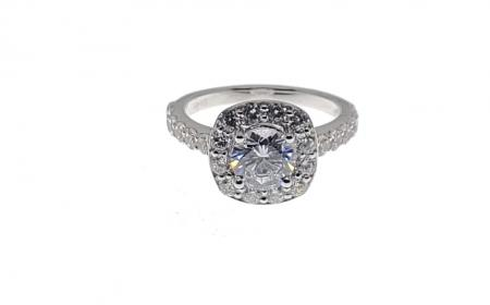 Cathedral Style Engagement Ring with Cushion Halo