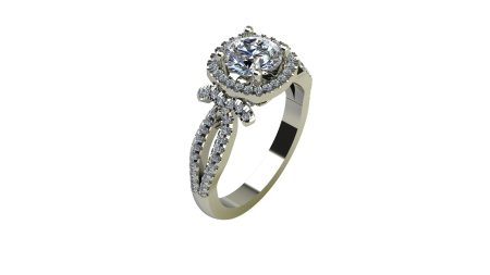 Cushion Halo Engagement Ring with swooping sides