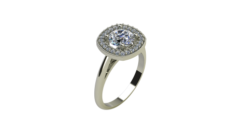 Cushion Cut Halo Engagement Ring With Milgrain