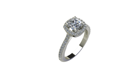 Cushion Halo Engagement Ring with Milgrain and side stone