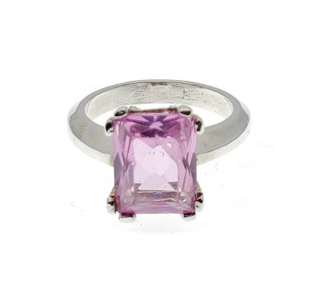 Sterling Silver Ring Pink Stone