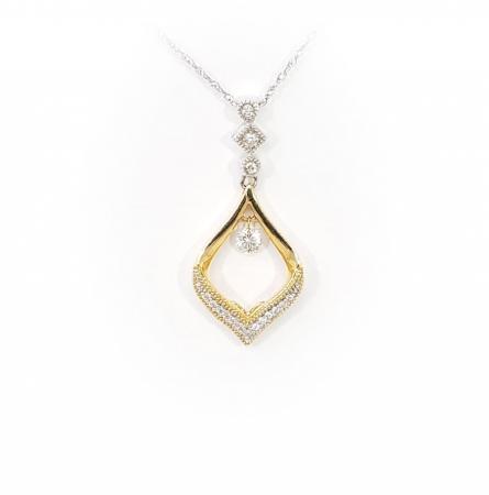 14k Two-Tone Diamond Pendant