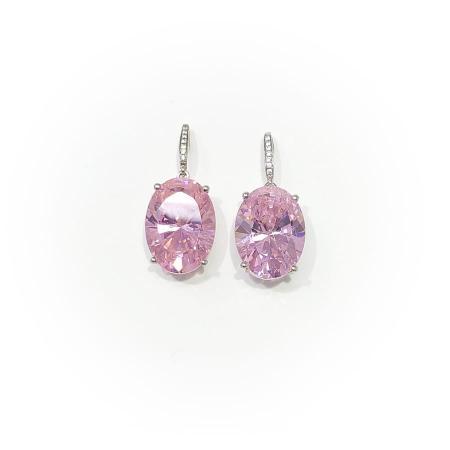 Sterling Silver Oval Pink Stone with Diamond drop Earrings