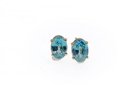 14K Yellow Gold Blue Zircon Earrings