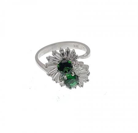 18k White Gold Chrome Tourmaline and Diamond Ring
