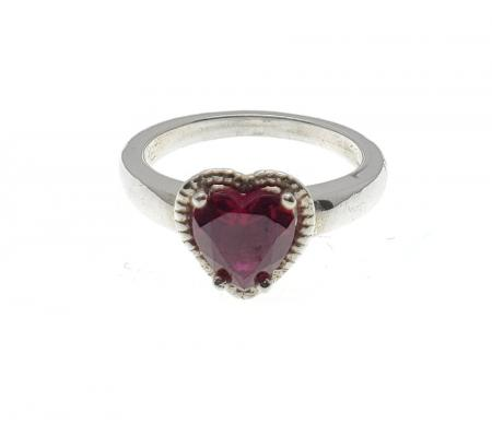 Sterling Red Heart Shaped Stone