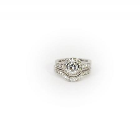 14k White Gold Bezel Set Halo with Engraving Wedding Set