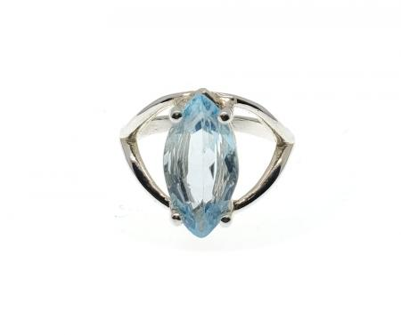 Sterling Silver Marquise Shape Blue Topaz Ring