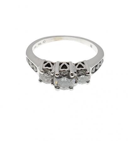 14k White Gold Past Present Future Ring