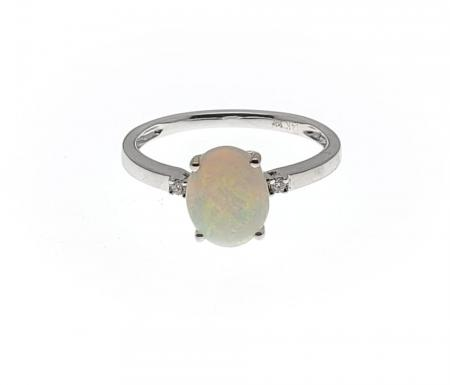 14k White Gold Oval Opal Ring with Diamond accents