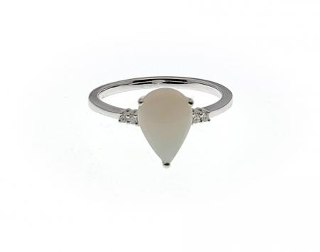 14k White Gold pear shape opal and diamond