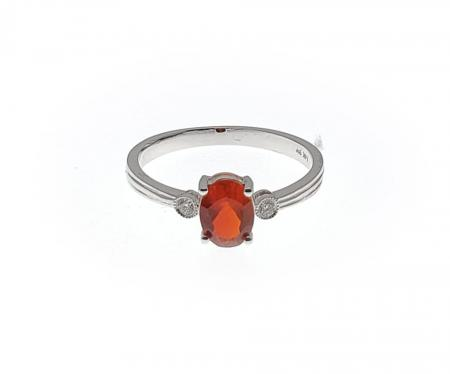 14k White Gold Fire Opal and Diamond Ring