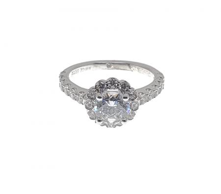 Round Bubble Halo Engagement Ring