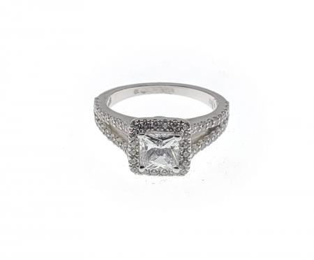 Split Shank Square Halo Engagement Ring
