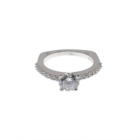 Classic Side Stone Engagement Ring with Euro Shank