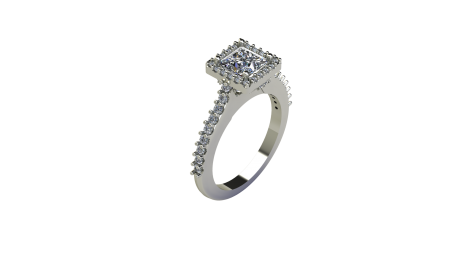 Square Halo with Side Diamonds and Under Design