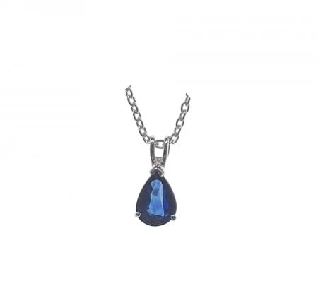 Sterling Silver Pear Shape Sapphire Pendant with Chain