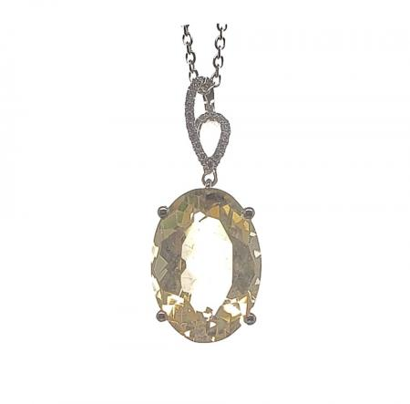 Sterling Silver Oval Yellow Stone Pendant