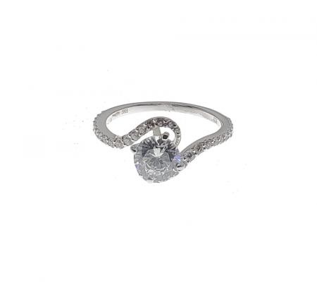 Bypass Engagement Ring with Side Diamonds and milgrain