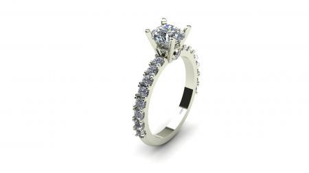 Classic Diamond Engagement Ring With Prong Set Diamonds