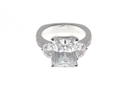 Half Moon and Flush Set Diamond Engagement Ring