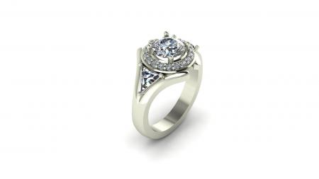 Round Halo and Trillion Diamond Engagement Ring