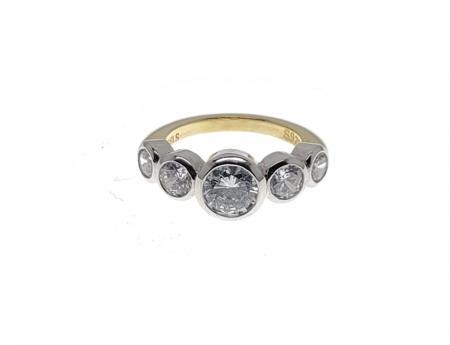 5 Stone Bezel Set Engagement Ring