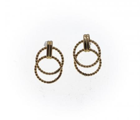 14K Yellow Double Circle Gold Earrings