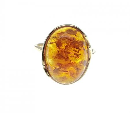 14k Yellow Gold Amber Ring