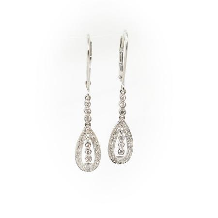 14k White Gold .50ctw Dangle Diamond Earrings