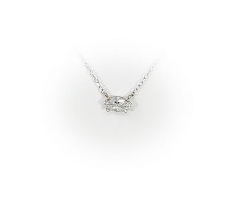 14k White Gold .50ct Marquise Diamond Pendant