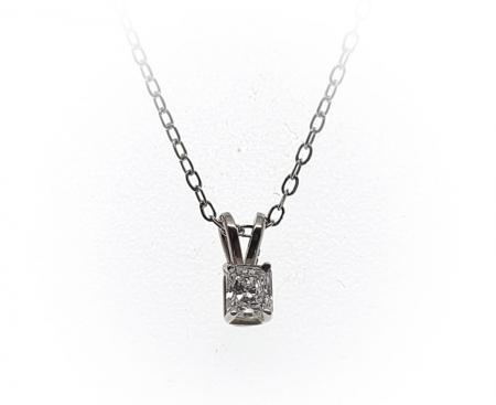 14k White Gold Emerald Cut Diamond Pendant .20ct