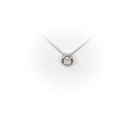 14K White Gold .30 ct Diamond Pendant