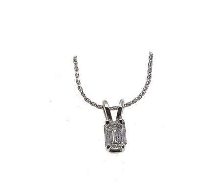 14k White Gold .34 ct Emerald Cut Diamond Pendant