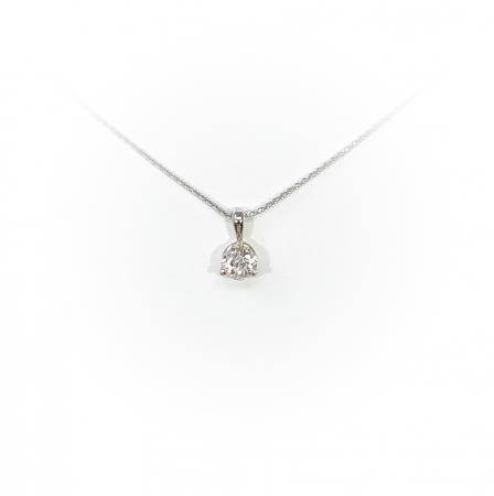 14K White Gold .34 ct Round Brilliant Diamond Pendant