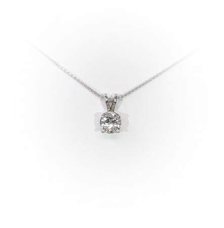 14K White Gold .50 ct Round Brilliant Diamond pendant