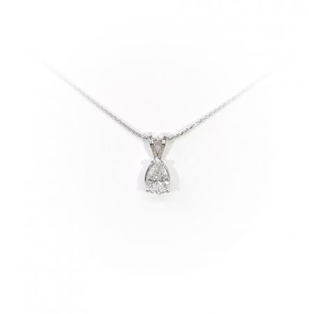14K White Gold .51 ct Pear Shape Diamond Pendant