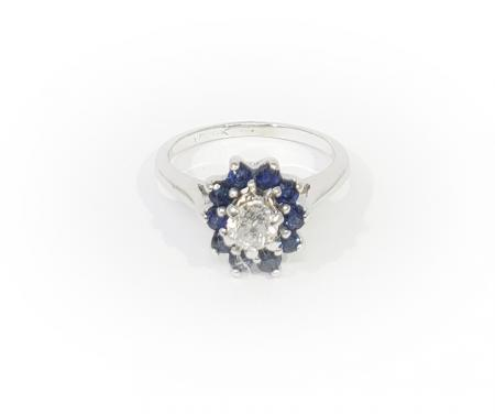 14k White Gold Diamond and Sapphire Halo Ring