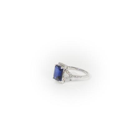 Sterling silver Ring with Emerald Cut Blue stone and CZ
