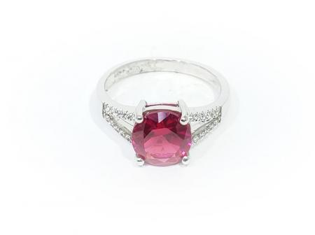 Sterling Silver Ring with Synthetic Red Stone and CZ
