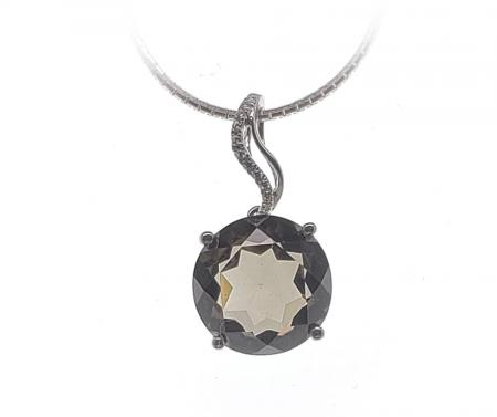 Sterling Silver Round Brilliant Smokey Quartz Pendant