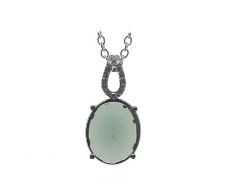 Sterling Silver Pendant with Oval Green/Brown Stone
